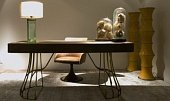 George desk. 181x87 h.82 Nabuck Lava with chair Paloma revolving 60x62 h.89